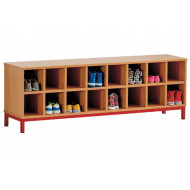 Cloakroom Bench With 16 Open Compartments