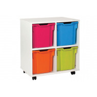 White 4 Jumbo Tray Storage Unit