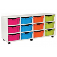 White 12 Deep Tray Storage Unit (Horizontal)