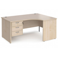 Next-Day Value Line Deluxe Panel End Right Hand Ergonomic Desk 3 Drawers