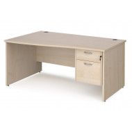 Value Line Deluxe Panel End Left Hand Wave Desk 2 Drawers