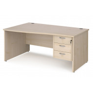 Value Line Deluxe Panel End Left Hand Wave Desk 3 Drawers