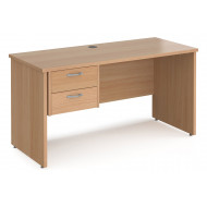 Value Line Deluxe Panel End Narrow Rectangular Desk 2 Drawers