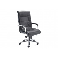 Madon High Back Chair With Chrome Arms And Base