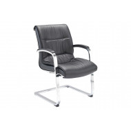 Madon Medium Back Visitors Chair With Chrome Arms And Base