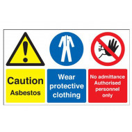 Caution Asbestos, Wear Protective Clothing Multi Message Sign