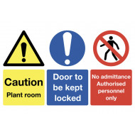 Caution Plant Room, Door To Be Kept Locked Multi Message Sign
