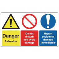 Danger Asbestos, Do Not Disturb And Avoid Damage Multi Message Sign