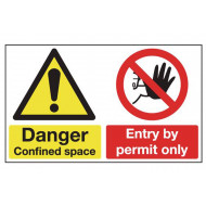 Danger Confined Space, Entry By Permit Only Multi Message Sign