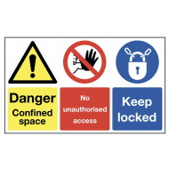 Danger Confined Space, No Unauthorised Access Multi Message Signs
