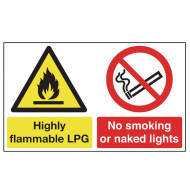 Highly Flammable LPG, No Smoking Or Naked Lights Multi Message Sign
