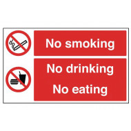 No Smoking, No Drinking, No Eating Multi Message Sign (Landscape)