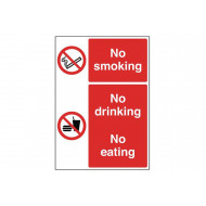 No Smoking, No Drinking, No Eating Multi Message Sign (Portrait)