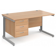 Tully Deluxe Rectangular Desk 3 Drawers