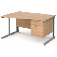 Next-Day Tully Deluxe Left Hand Wave Desk 2 Drawers