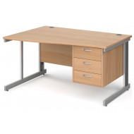 Tully Deluxe Left Hand Wave Desk 3 Drawers