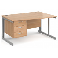 Next-Day Tully Deluxe Right Hand Wave Desk 3 Drawers