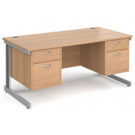 Next-Day Tully Deluxe Rectangular Desk 2+2 Drawers