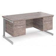 All Grey Oak Deluxe Executive Desk 2+2 Drawers