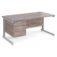 All Grey Oak Deluxe Clerical Desk 3 Drawers