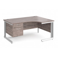 All Grey Oak Deluxe Right Hand Ergo Desk 2 Drawers