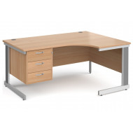 Tully Deluxe Right Hand Ergonomic Desk 3 Drawers