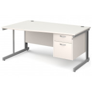 All White Deluxe Left Hand Wave Desk 2 Drawers