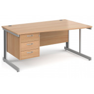 All Beech Deluxe Right Hand Wave Desk 3 Drawers