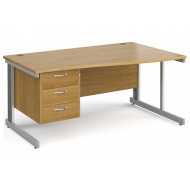 Tully Deluxe Right Hand Wave Desk 3 Drawers