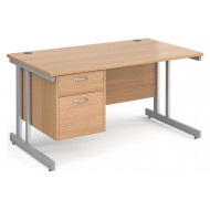 Next-Day Tully II Rectangular Desk 2 Drawers