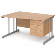 Tully II Left Hand Wave Desk 3 Drawers