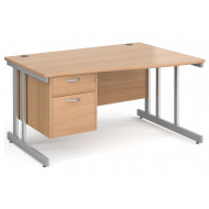 Tully II Right Hand Wave Desk 2 Drawers