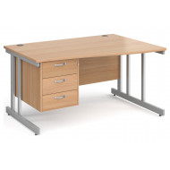 Tully II Right Hand Wave Desk 3 Drawers