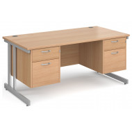 All Beech Double C-Leg Executive Desk 2+2 Drawers