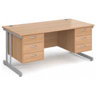 Next-Day Tully II Rectangular Desk 3+3 Drawers