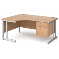 Tully II Left Hand Ergonomic Desk 2 Drawers