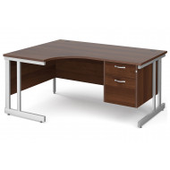 All Walnut Double C-Leg Left Hand Ergo Desk 2 Drawers