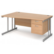Tully II Left Hand Wave Desk 2 Drawers