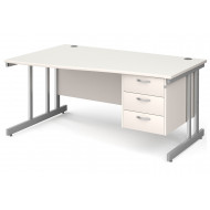 All White Double C-Leg Left Hand Wave Desk 3 Drawers