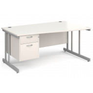All White Double C-Leg Right Hand Wave Desk 2 Drawers
