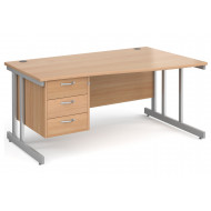 All Beech Double C-Leg Right Hand Wave Desk 3 Drawers