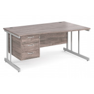All Grey Oak Double C-Leg Right Hand Wave Desk 3 Drawers