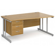 All Oak Double C-Leg Right Hand Wave Desk 3 Drawers