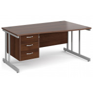 All Walnut Double C-Leg Right Hand Wave Desk 3 Drawers
