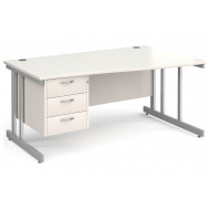 All White Double C-Leg Right Hand Wave Desk 3 Drawers