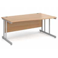 All Beech Double C-Leg Wave Right Hand Desk