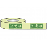 Nite-Glo Fire Exit Tape With Running Man And Arrow Right