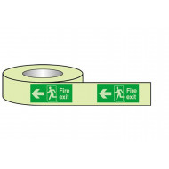 Nite-Glo fire exit tape with running man and arrow left