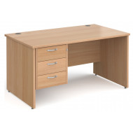 Tully Panel End Rectangular Desk 3 Drawers