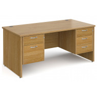 All Oak Panel End Executive Desk 2+3 Drawers